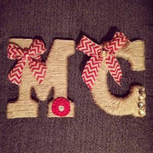 crafts, burlap, initials, photography